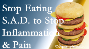 Auburn chiropractic patients do well to avoid the S.A.D. diet to decrease inflammation and pain.