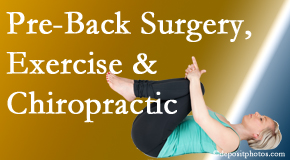Dr. Le's Chiropractic & Wellness, L.L.C. suggests beneficial pre-back surgery chiropractic care and exercise to physically prepare for and possibly avoid back surgery.