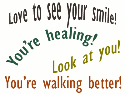 Use positive words to support your Auburn loved one as he/she gets chiropractic care for relief.