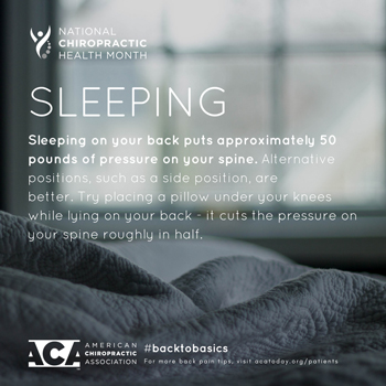 Dr. Le's Chiropractic & Wellness, L.L.C. recommends putting a pillow under your knees when sleeping on your back.
